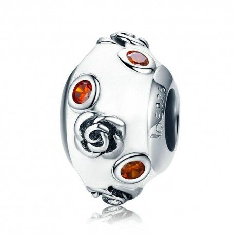Sterling silver charm Rose with orange zirconia