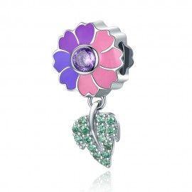 Sterling silver pendant charm Flower leaves