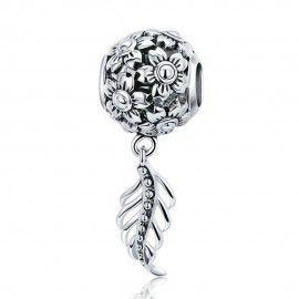 Charm pendente in argento Fiore margherita con piuma d'epoca