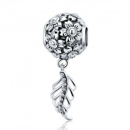 Sterling silver pendant charm Daisy flower with vintage feather