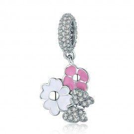 Charm pendente in argento Margherita di primavera con farfalla