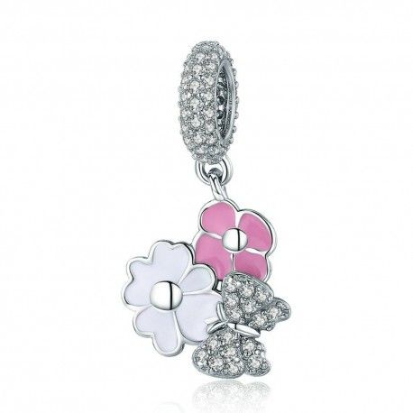 Sterling silver pendant charm Spring daisy with butterfly