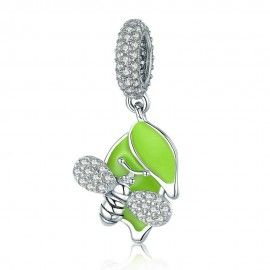 Sterling silver pendant charm Bee with green tree leaves
