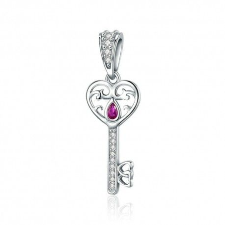 Sterling silver pendant charm Happiness key