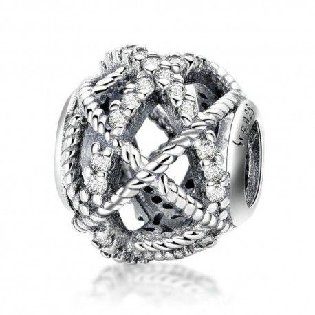 Sterling silver charm Glittering twine