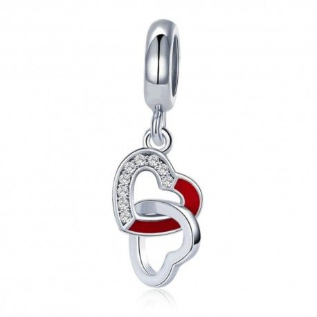 Sterling silver pendant charm Intertwined hearts