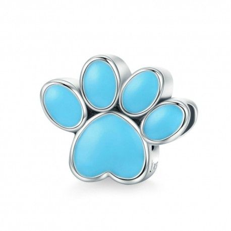 Sterling silver charm Dog footprint blue