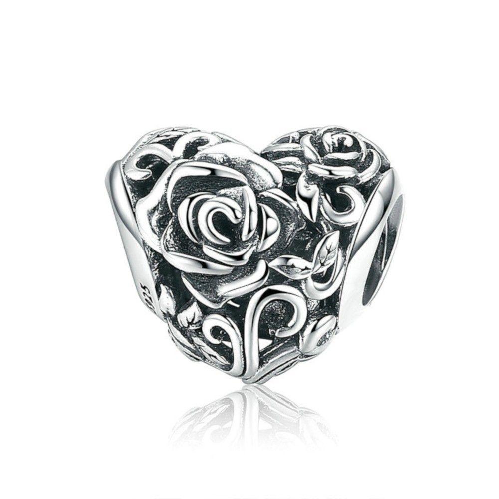 Charm in argento Cuore con rose-Mijn bedels-per il tuo ...
