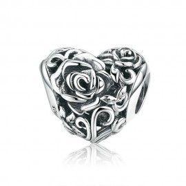 Zilveren bedel Hart met rozen
