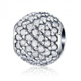 Sterling silver charm Crystal round