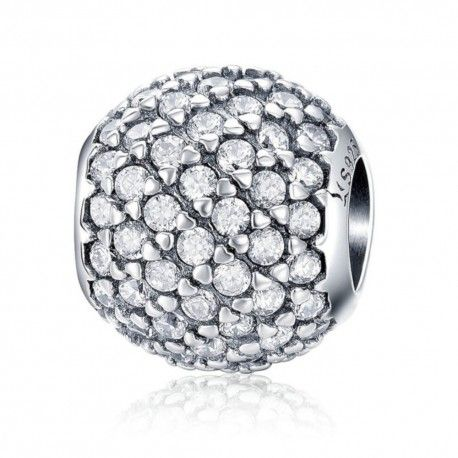 Zilveren bedel Kristallen rondje