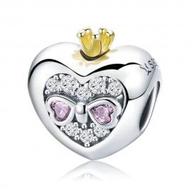 Sterling silver charm Princess crown with pink heart