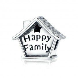 Charm en plata de Ley Casa familiar feliz con reloj
