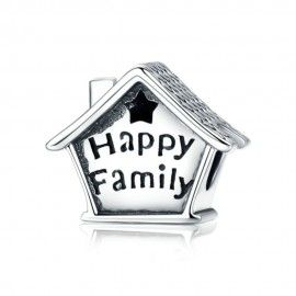 Sterling silver charm Happy family house with clock