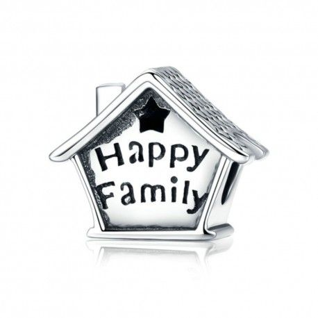 Zilveren bedel Gelukkig familiehuis met klok