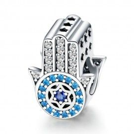 Sterling silver charm Hand of Fatima blue