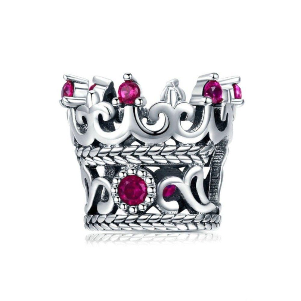 Zilveren bedel Kroon van de Koningin roze