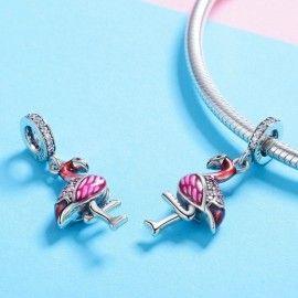 Sterling silver pendant charm Flamingo