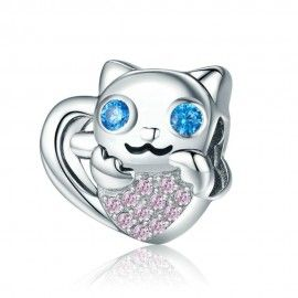 Sterling silver charm Adorable cat with heart