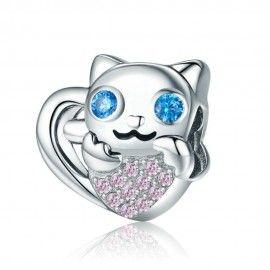 Sterling Silber Charm Entzückende Katze mit Herz