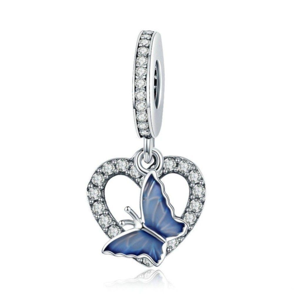 Zilveren hangende bedel Blauwe vlinder met hart
