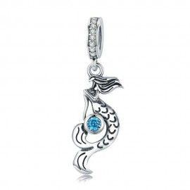 Zilveren hangende bedel Zeemeermin met blauwe zirkonia