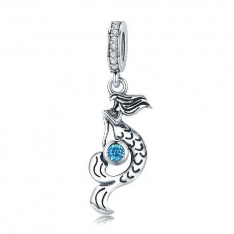 fad5fa958 Charm colgante en plata de Ley Sirena con circonita azul-Mijn bedel...