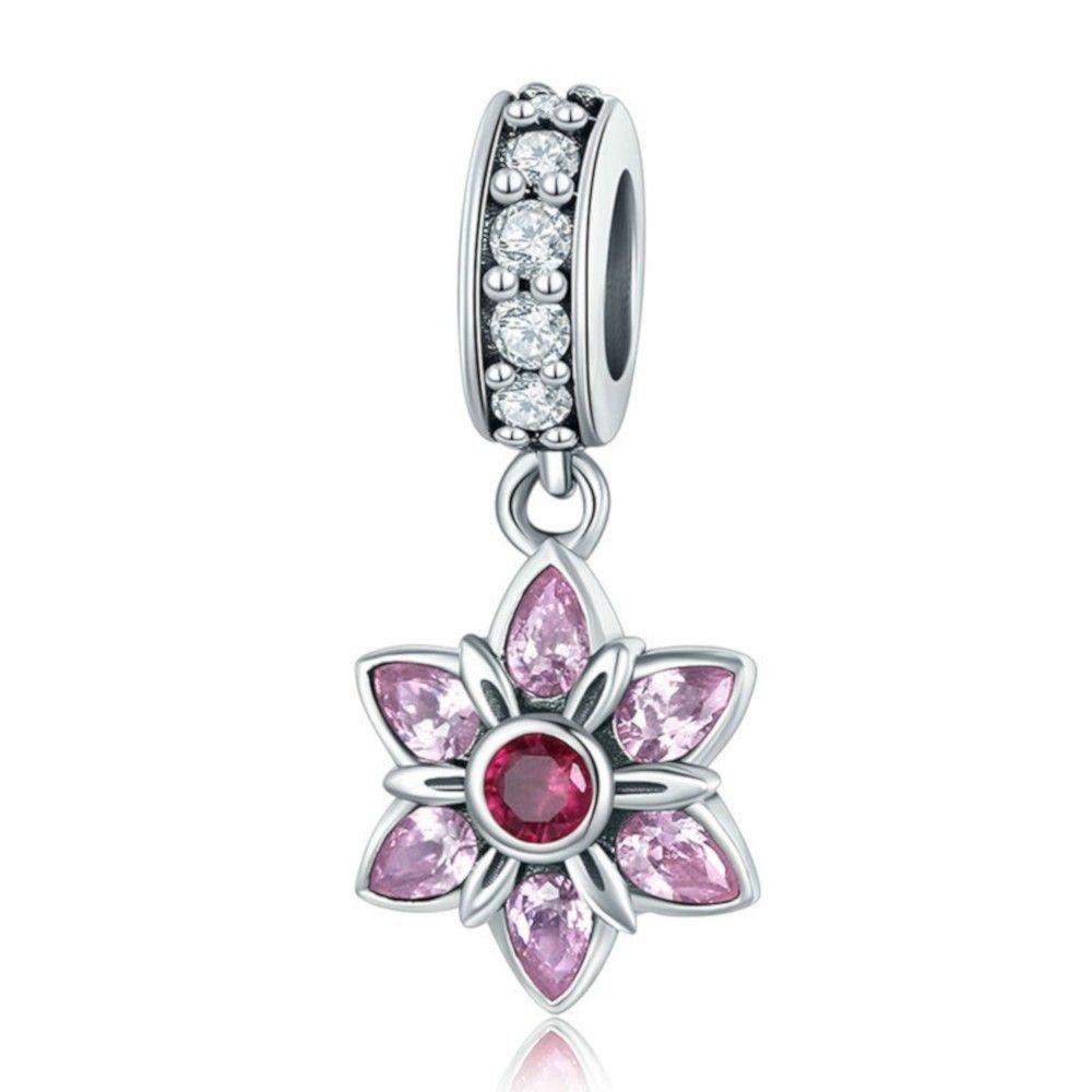 Zilveren hangende bedel Lentebloem met roze zirkonia