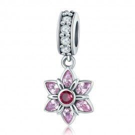 Sterling silver pendant charm Pink crystal spring flower