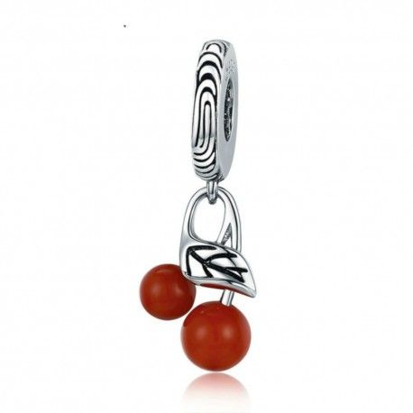 Zilveren hangende bedel Rode kers