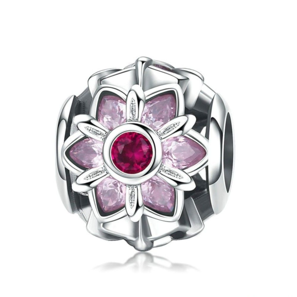 Sterling silver charm Pink flower