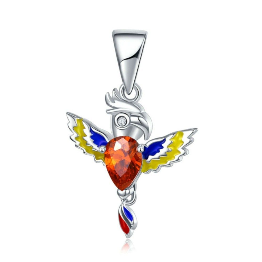 Sterling silver pendant charm Colorful parrot