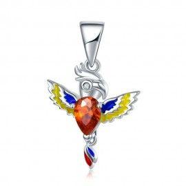 Zilveren hangende bedel Kleurrijke papegaai