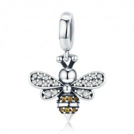Sterling silver pendant charm Luminous bee