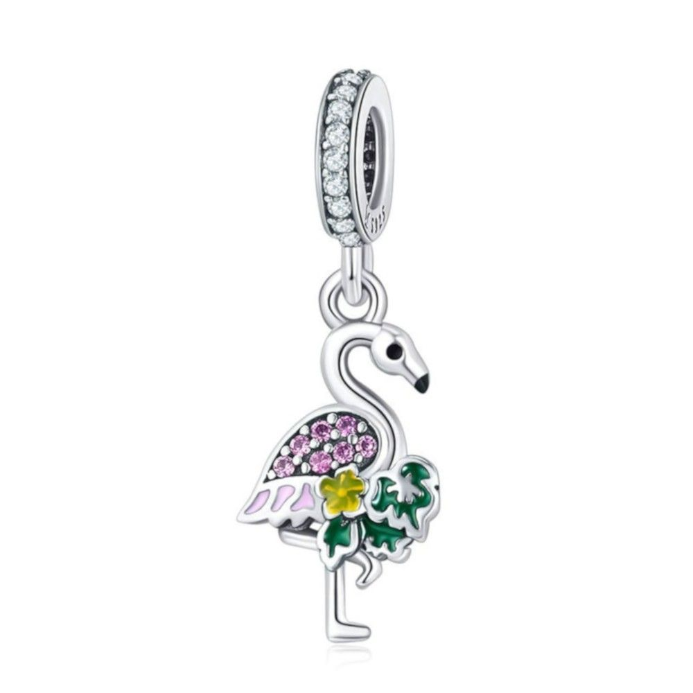 Sterling silver pendant charm Colorful flamingo