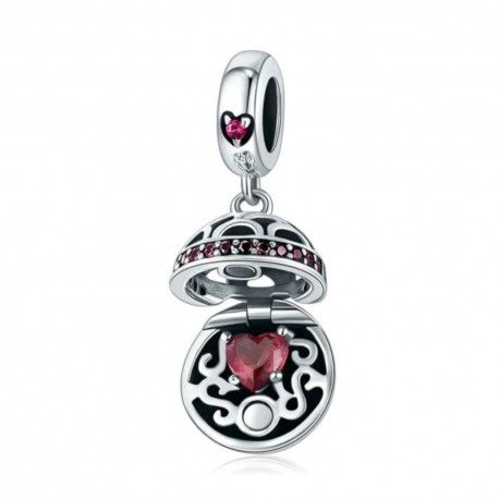 Sterling silver pendant charm Gift box ball red