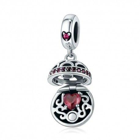 Zilveren hangende bedel Geschenkdoos bal rood