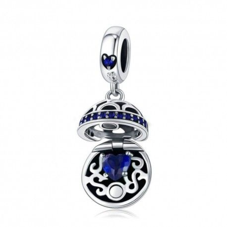 Sterling silver pendant charm Gift box ball blue