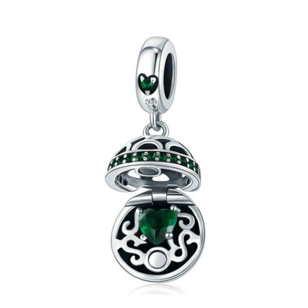 Sterling silver pendant charm Gift box ball green