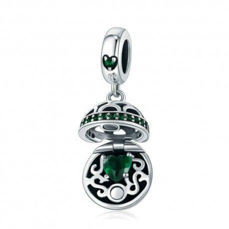 Zilveren hangende bedel Geschenkdoos bal groen