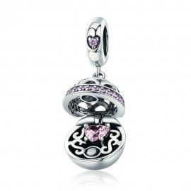 Charm colgante en plata de Ley Caja de regalo bola rosa