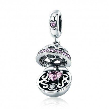 Zilveren hangende bedel Geschenkdoos bal roze