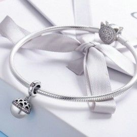 Sterling silver pendant charm Gift box ball pink