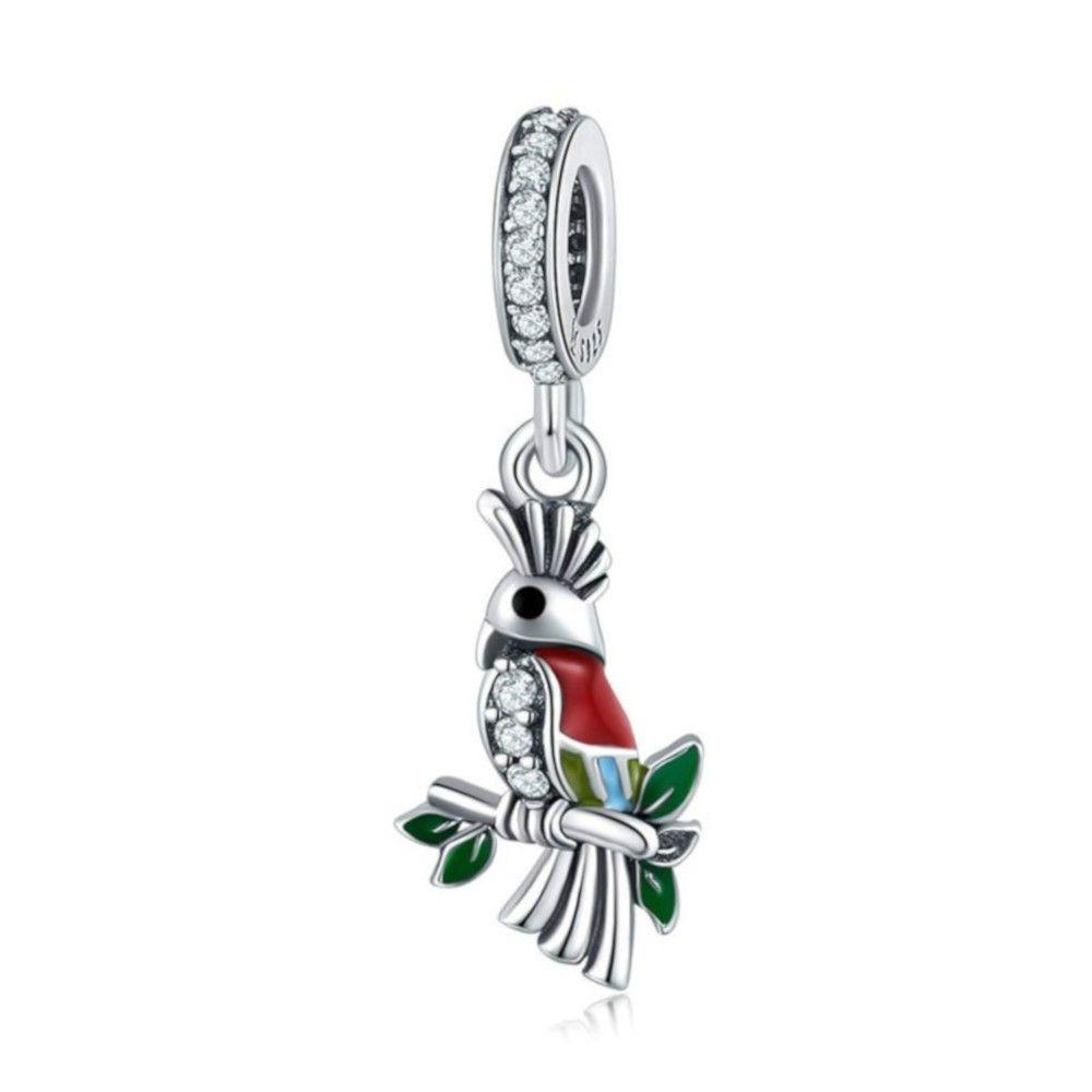 Sterling silver pendant charm Vivid parrot