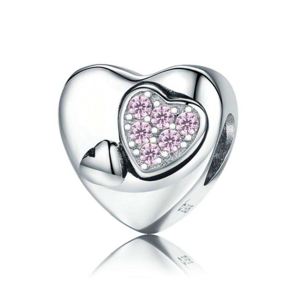 Zilveren bedel Hart cadeau