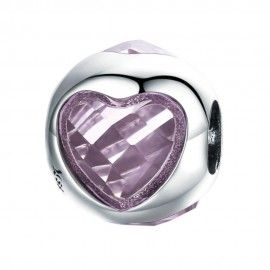 Charm in argento Amore cuore rosa