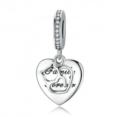 Sterling silver pendant charm Love family and cats