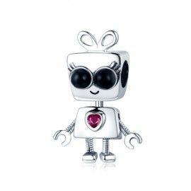 Zilveren bedel Robotmeisje