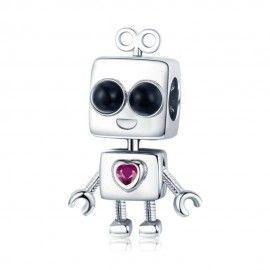 Zilveren bedel Robotjongen