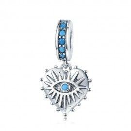 Sterling silver pendant charm Bohemian heart